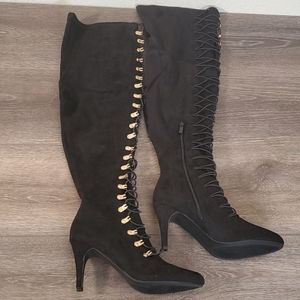 New Journee Collection Black Suede Tall Boots 8